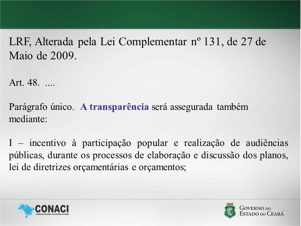LRF, Alterada pela Lei Complementar nº 131, de 27 de Maio de 2009. Art. 48..... Parágrafo único. A transparência será assegurada também mediante: I –