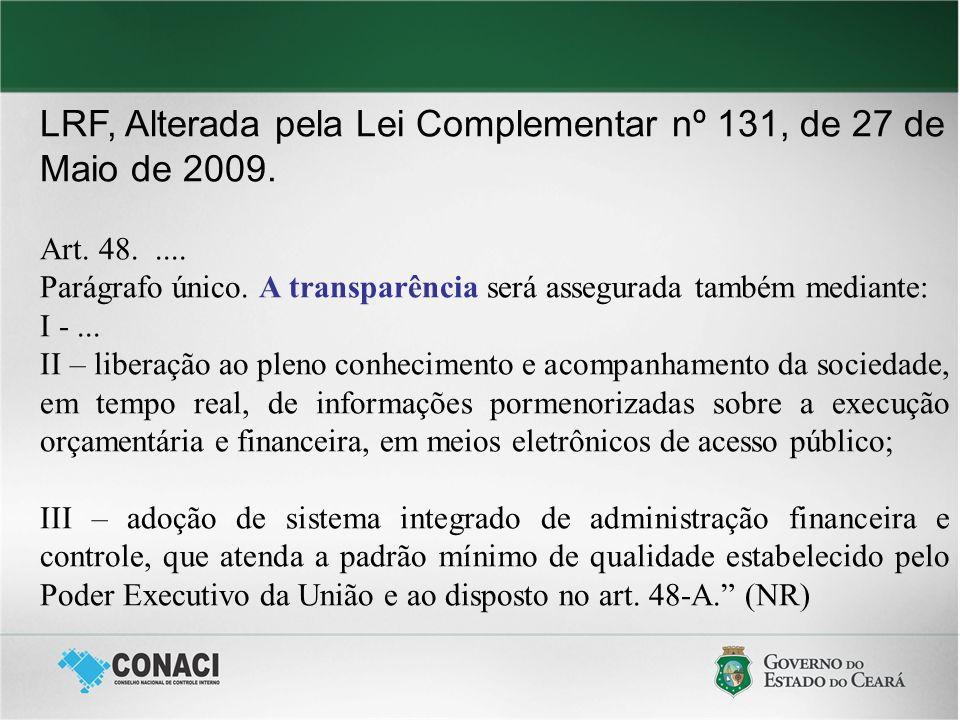 LRF, Alterada pela Lei Complementar nº 131, de 27 de Maio de 2009. Art. 48..... Parágrafo único. A transparência será assegurada também mediante: I -.