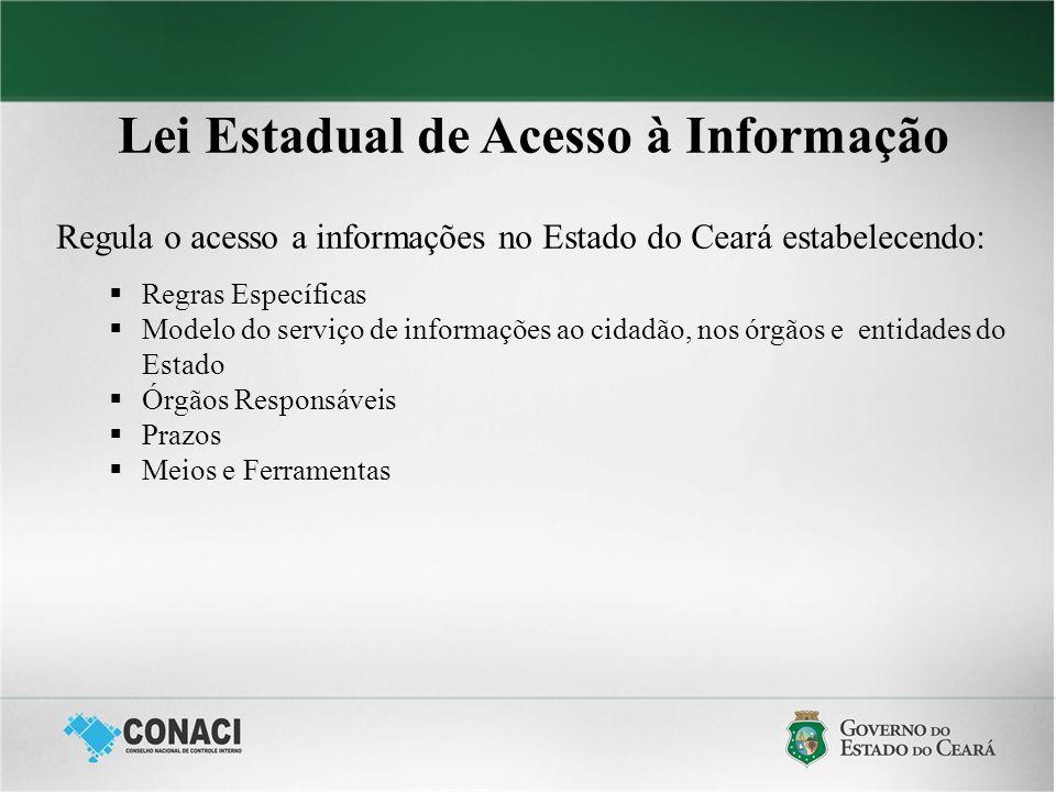Lei Estadual de Acesso à Informação Regula o acesso a informações no Estado do Ceará estabelecendo: Regras Específicas Modelo do serviço de informaçõe