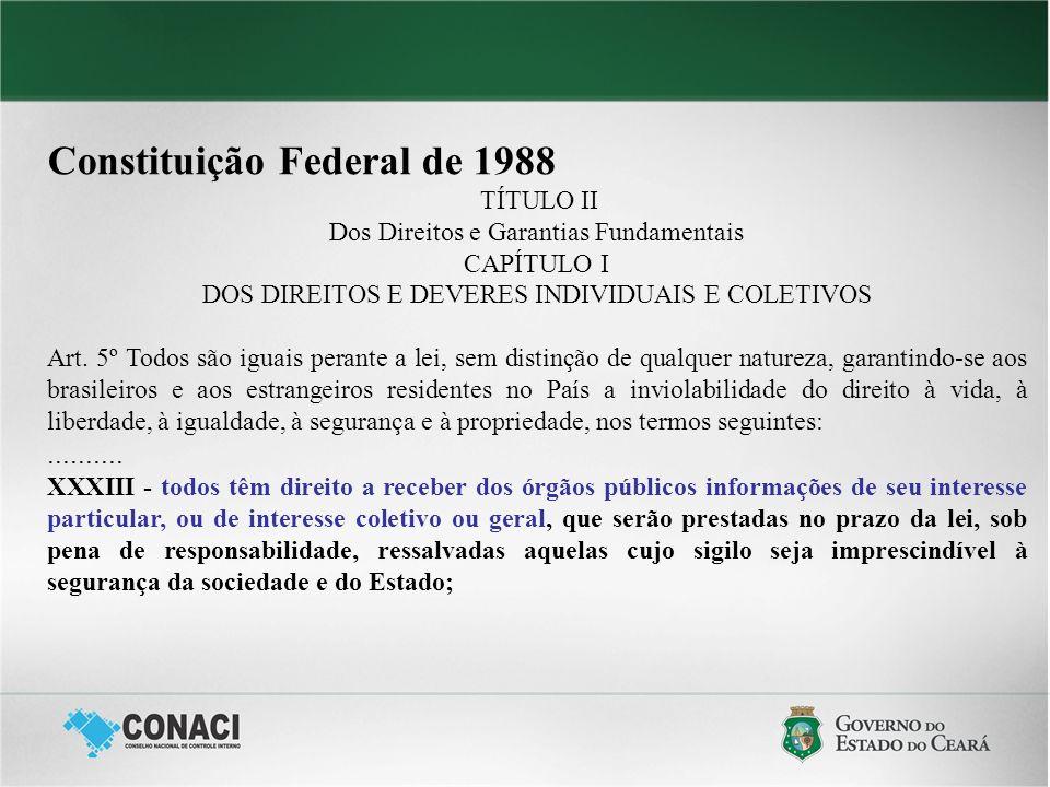 Constituição Federal de 1988 TÍTULO II Dos Direitos e Garantias Fundamentais CAPÍTULO I DOS DIREITOS E DEVERES INDIVIDUAIS E COLETIVOS Art. 5º Todos s