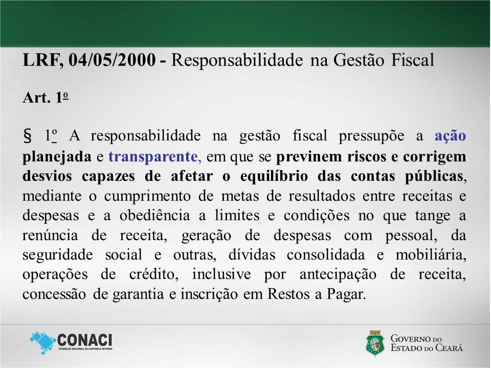 LRF, 04/05/2000 - Responsabilidade na Gestão Fiscal Art. 1 o § 1º A responsabilidade na gestão fiscal pressupõe a ação planejada e transparente, em qu