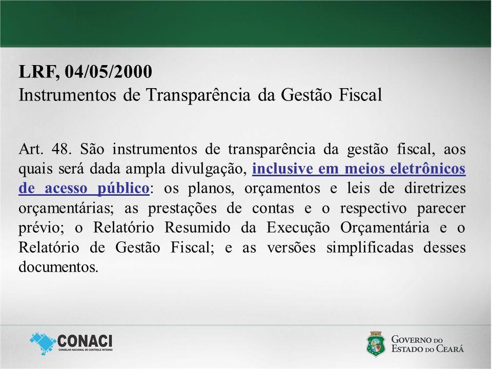 LRF, 04/05/2000 Instrumentos de Transparência da Gestão Fiscal Art. 48. São instrumentos de transparência da gestão fiscal, aos quais será dada ampla