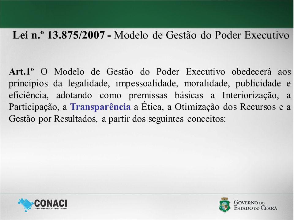 Lei n.º 13.875/2007 - Modelo de Gestão do Poder Executivo Art.1º.