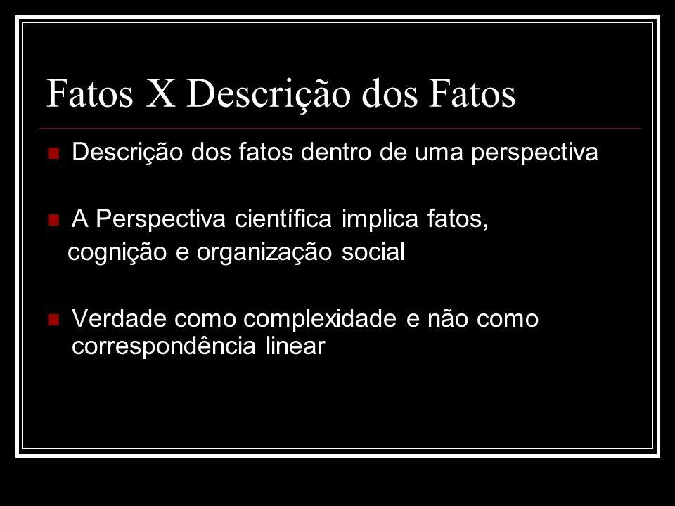 Fatos X Descrição dos Fatos Descrição dos fatos dentro de uma perspectiva A Perspectiva científica implica fatos, cognição e organização social Verdade como complexidade e não como correspondência linear