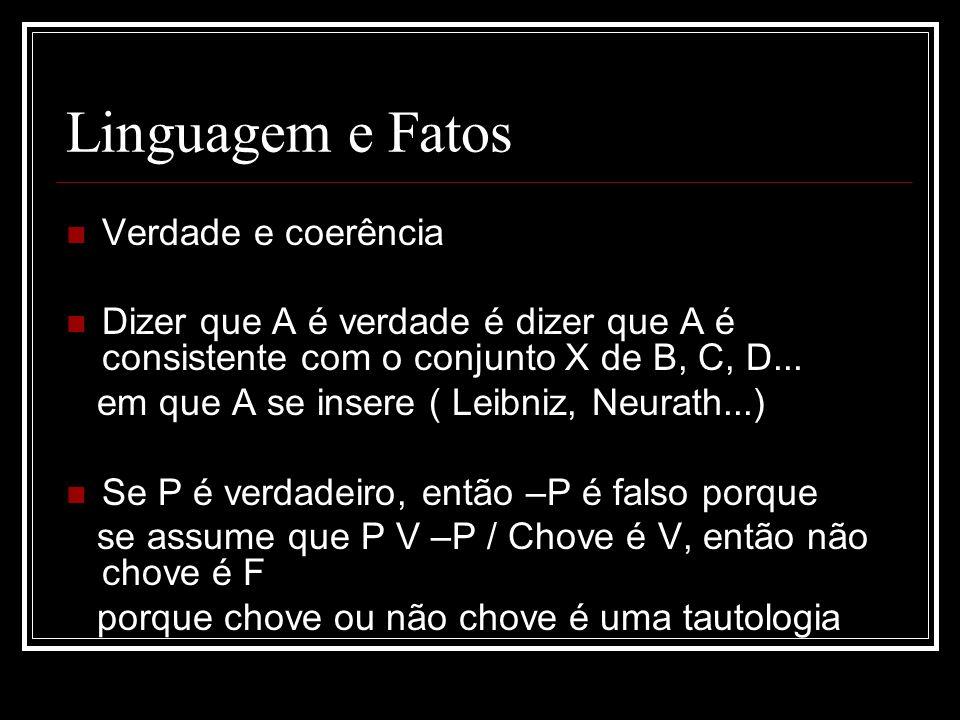 Linguagem e Fatos Verdade e coerência Dizer que A é verdade é dizer que A é consistente com o conjunto X de B, C, D...