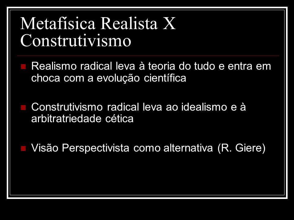 Metafísica Realista X Construtivismo Realismo radical leva à teoria do tudo e entra em choca com a evolução científica Construtivismo radical leva ao idealismo e à arbitratriedade cética Visão Perspectivista como alternativa (R.