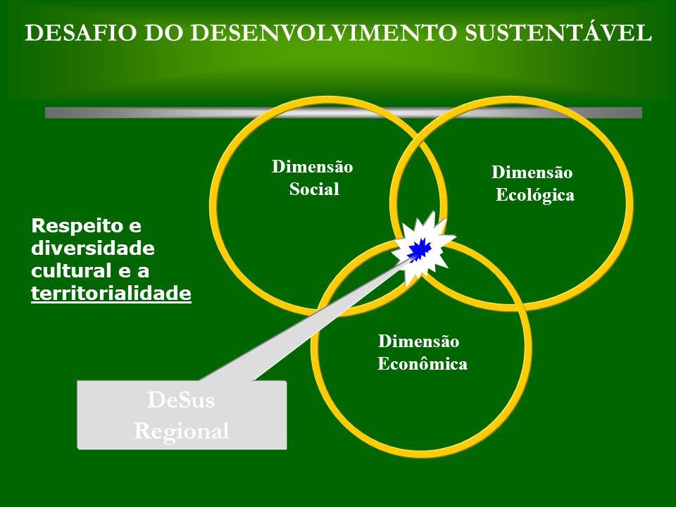 DeSus Regional Dimensão Social Dimensão Ecológica Dimensão Econômica DESAFIO DO DESENVOLVIMENTO SUSTENTÁVEL Respeito e diversidade cultural e a territorialidade