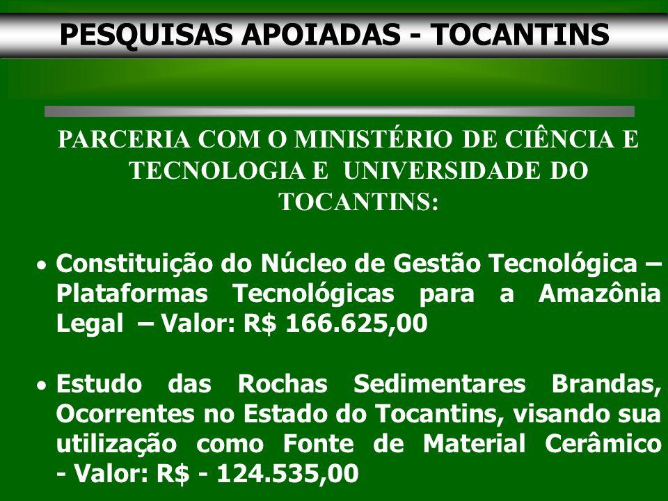 PESQUISAS APOIADAS - TOCANTINS PARCERIA COM O MINISTÉRIO DE CIÊNCIA E TECNOLOGIA E UNIVERSIDADE DO TOCANTINS: Constituição do Núcleo de Gestão Tecnológica – Plataformas Tecnológicas para a Amazônia Legal – Valor: R$ 166.625,00 Estudo das Rochas Sedimentares Brandas, Ocorrentes no Estado do Tocantins, visando sua utilização como Fonte de Material Cerâmico - Valor: R$ - 124.535,00