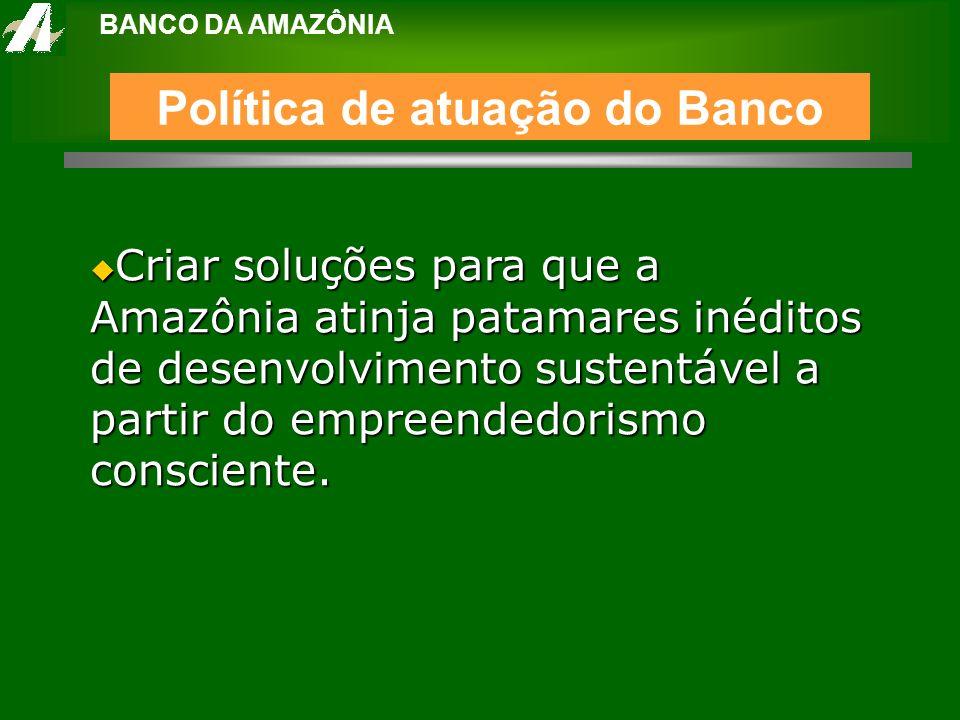 BANCO DA AMAZÔNIA Criar soluções para que a Amazônia atinja patamares inéditos de desenvolvimento sustentável a partir do empreendedorismo consciente.