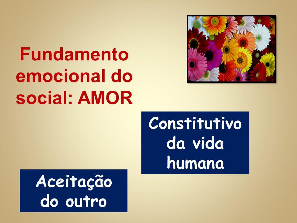 Fundamento emocional do social: AMOR Constitutivo da vida humana Aceitação do outro