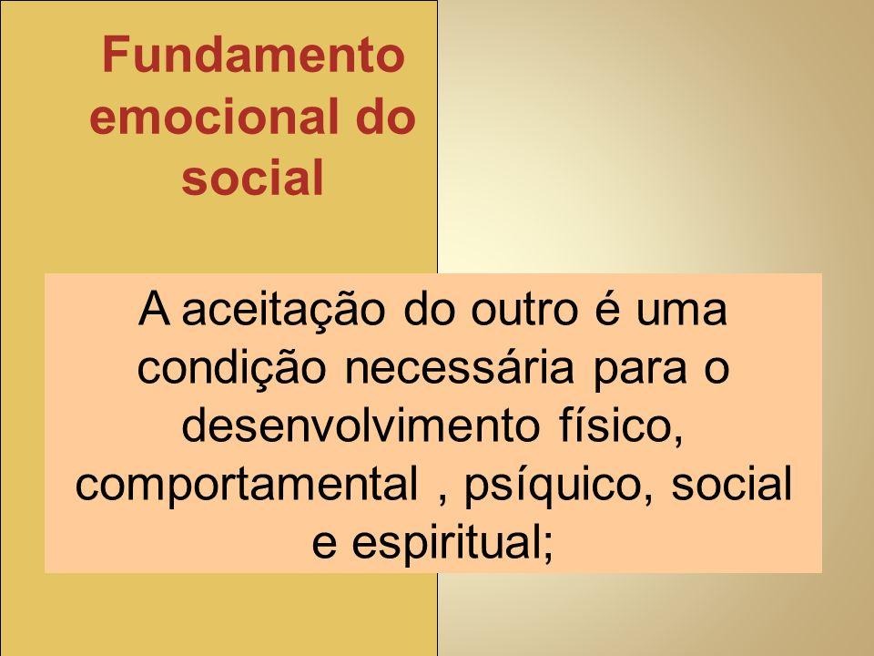 A aceitação do outro é uma condição necessária para o desenvolvimento físico, comportamental, psíquico, social e espiritual; Fundamento emocional do s
