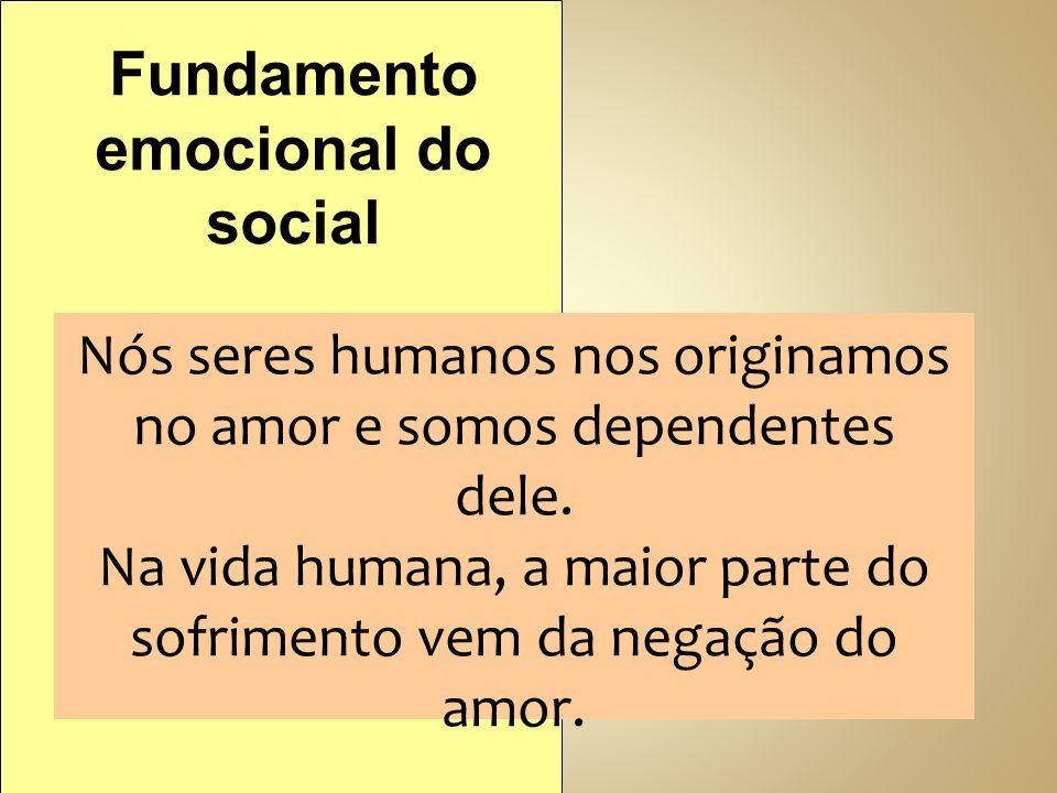 Nós seres humanos nos originamos no amor e somos dependentes dele. Na vida humana, a maior parte do sofrimento vem da negação do amor. Fundamento emoc