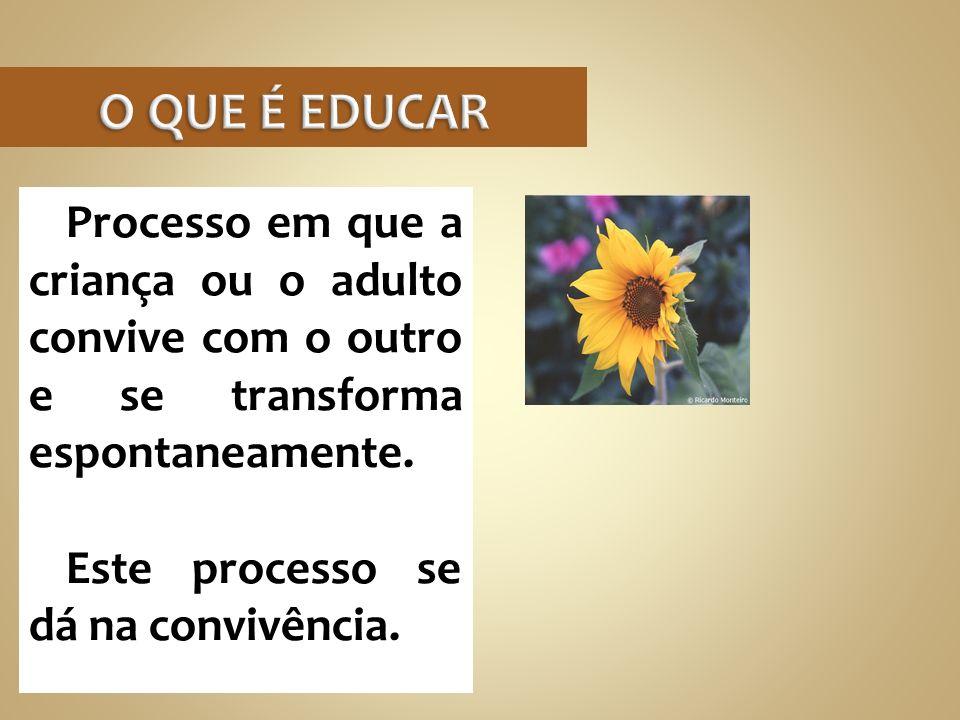 Processo em que a criança ou o adulto convive com o outro e se transforma espontaneamente. Este processo se dá na convivência.