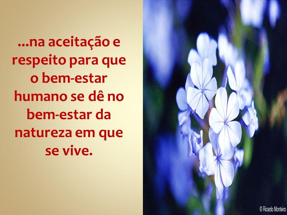 ...na aceitação e respeito para que o bem-estar humano se dê no bem-estar da natureza em que se vive.