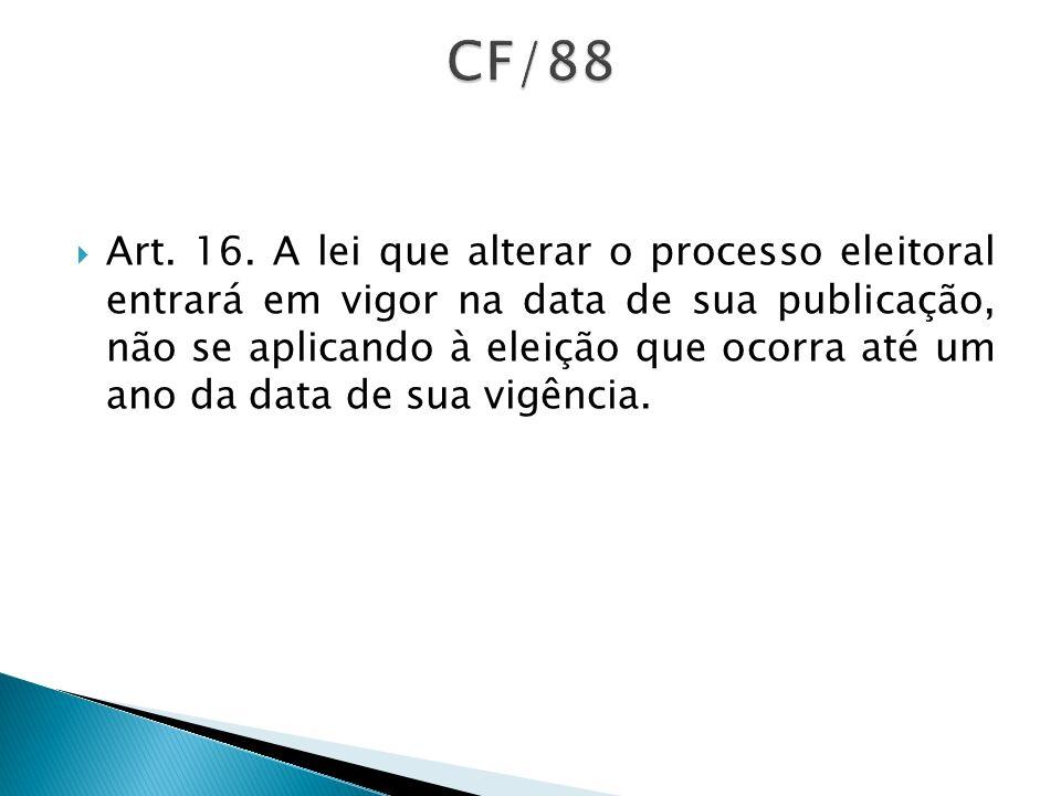Art. 16. A lei que alterar o processo eleitoral entrará em vigor na data de sua publicação, não se aplicando à eleição que ocorra até um ano da data d