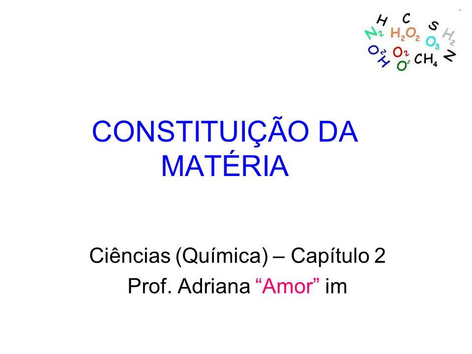 CONSTITUIÇÃO DA MATÉRIA Ciências (Química) – Capítulo 2 Prof. Adriana Amor im