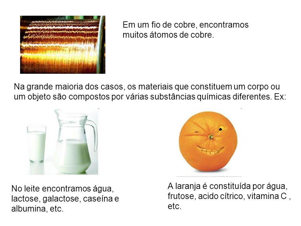 Na grande maioria dos casos, os materiais que constituem um corpo ou um objeto são compostos por várias substâncias químicas diferentes. Ex: Em um fio