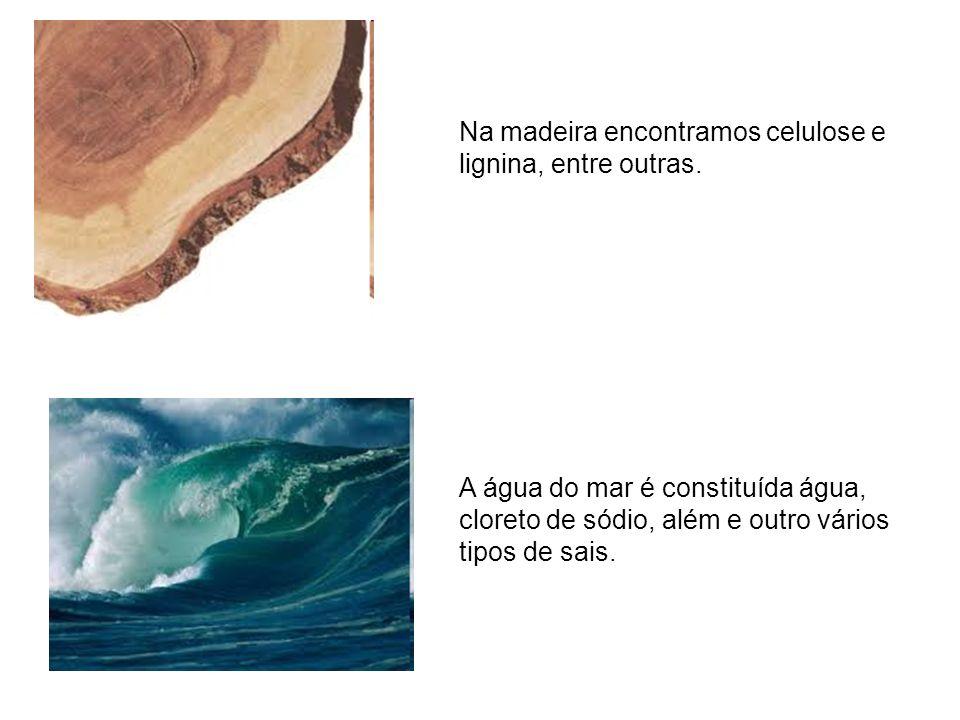 Na madeira encontramos celulose e lignina, entre outras. A água do mar é constituída água, cloreto de sódio, além e outro vários tipos de sais.