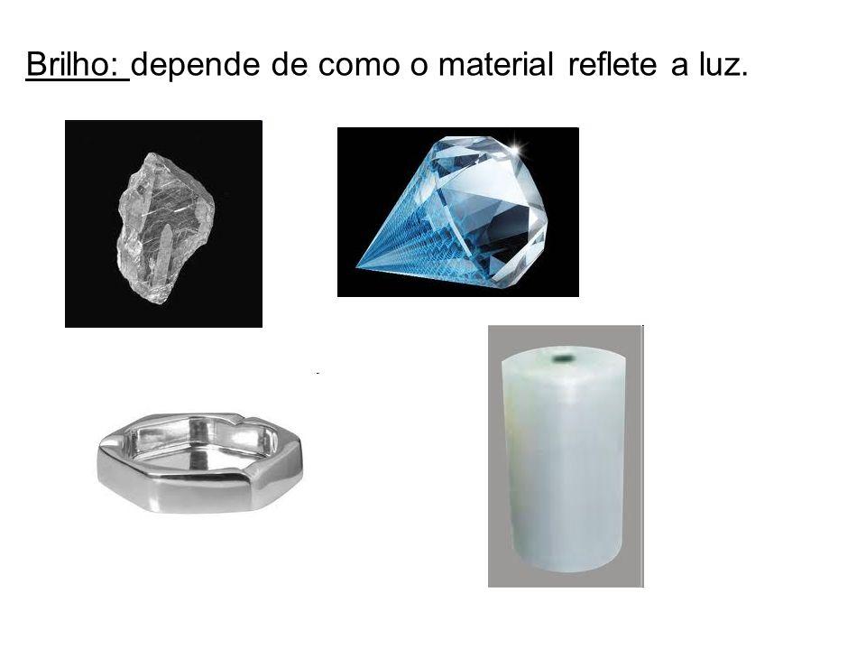 Brilho: depende de como o material reflete a luz.