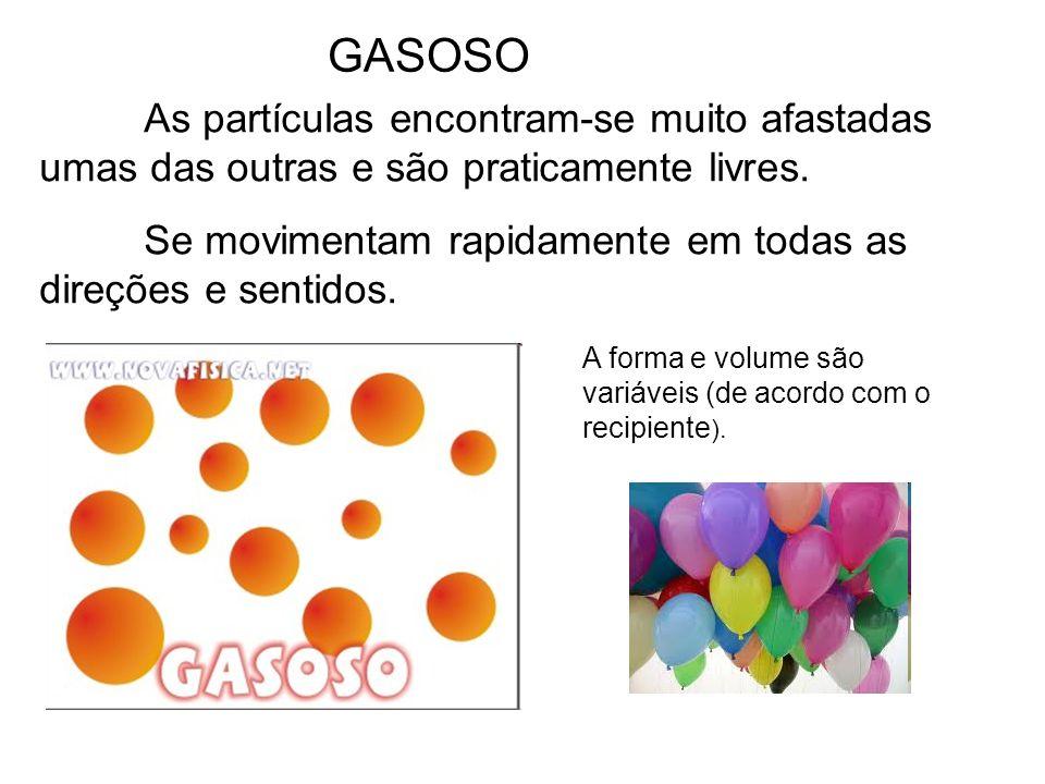 GASOSO As partículas encontram-se muito afastadas umas das outras e são praticamente livres. Se movimentam rapidamente em todas as direções e sentidos