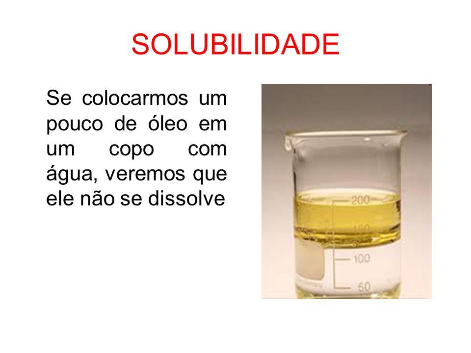SOLUBILIDADE Se colocarmos um pouco de óleo em um copo com água, veremos que ele não se dissolve