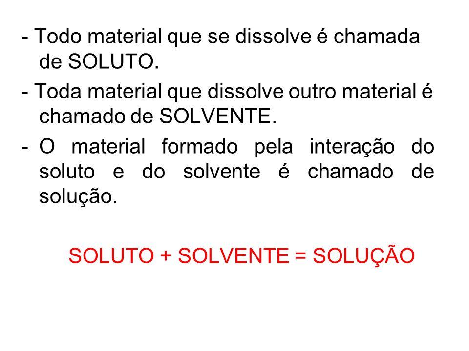 - Todo material que se dissolve é chamada de SOLUTO. - Toda material que dissolve outro material é chamado de SOLVENTE. -O material formado pela inter