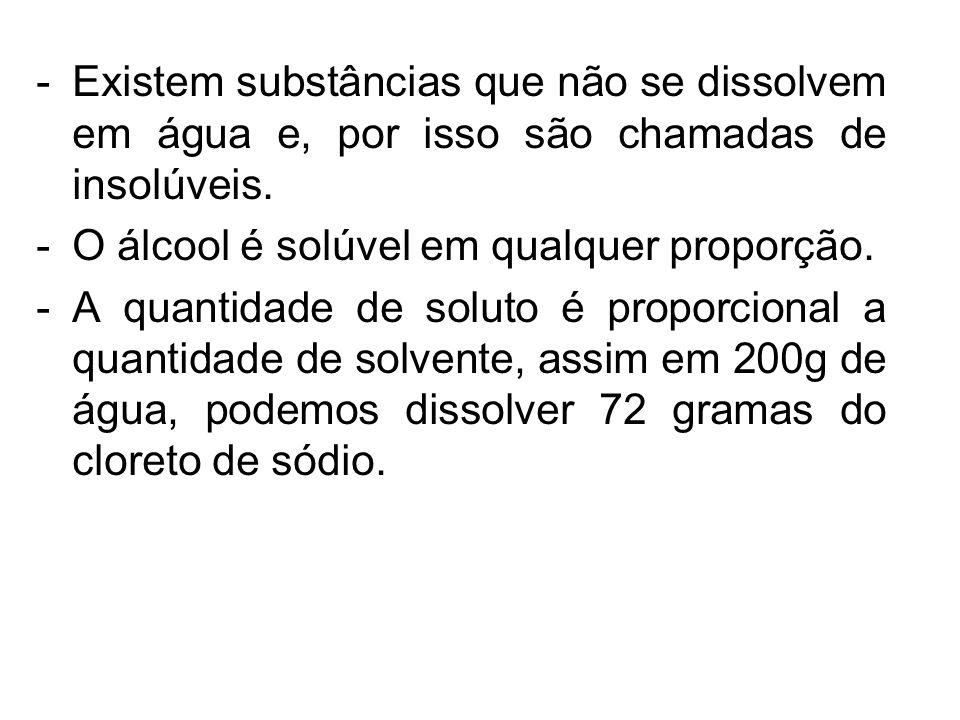 -Existem substâncias que não se dissolvem em água e, por isso são chamadas de insolúveis. -O álcool é solúvel em qualquer proporção. -A quantidade de