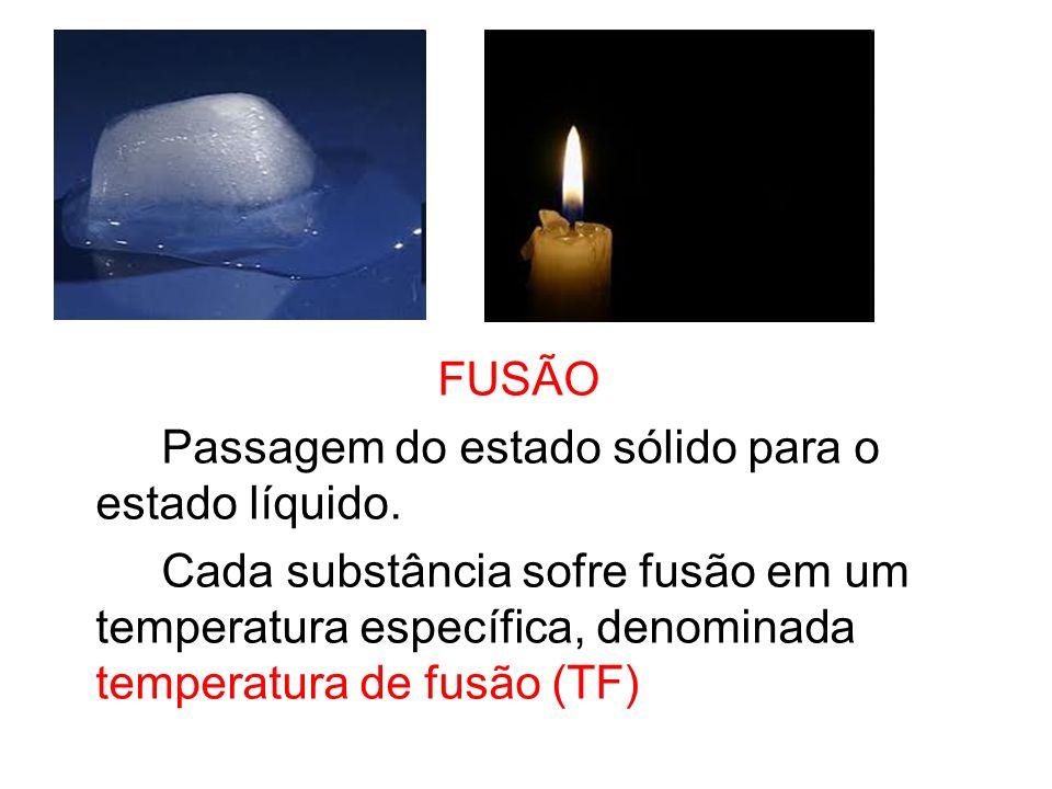 FUSÃO Passagem do estado sólido para o estado líquido. Cada substância sofre fusão em um temperatura específica, denominada temperatura de fusão (TF)