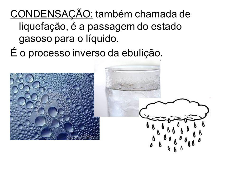 CONDENSAÇÃO: também chamada de liquefação, é a passagem do estado gasoso para o líquido. É o processo inverso da ebulição.