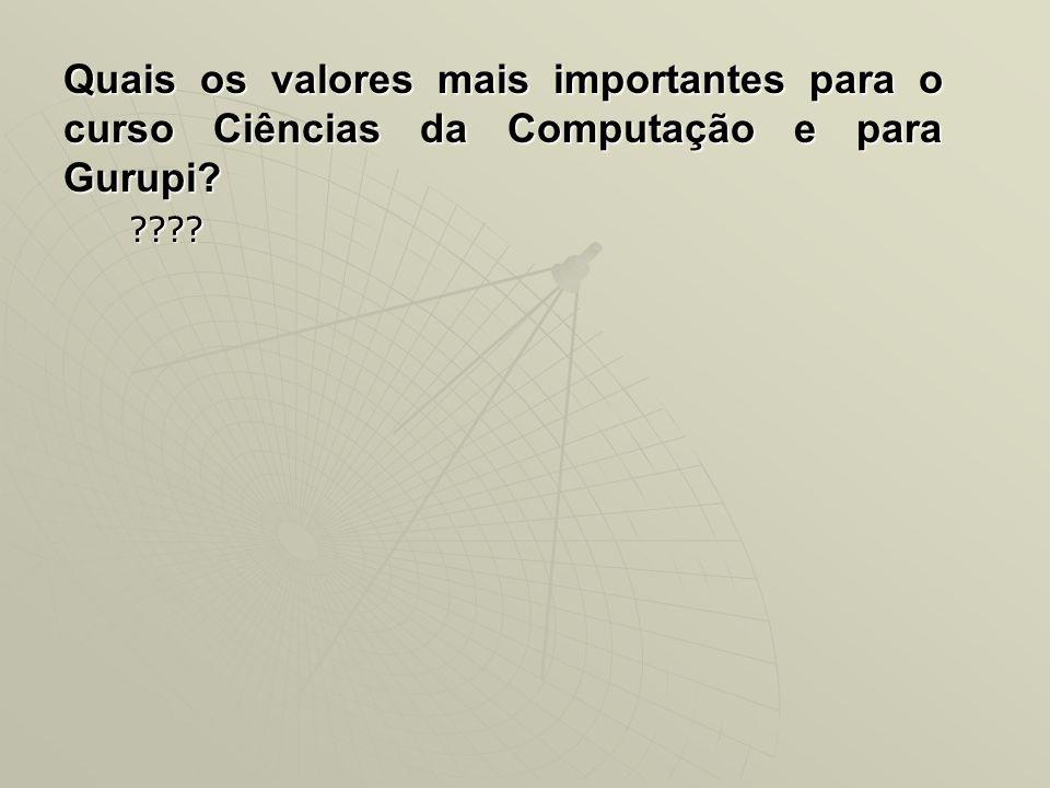 Quais os valores mais importantes para o curso Ciências da Computação e para Gurupi? ????