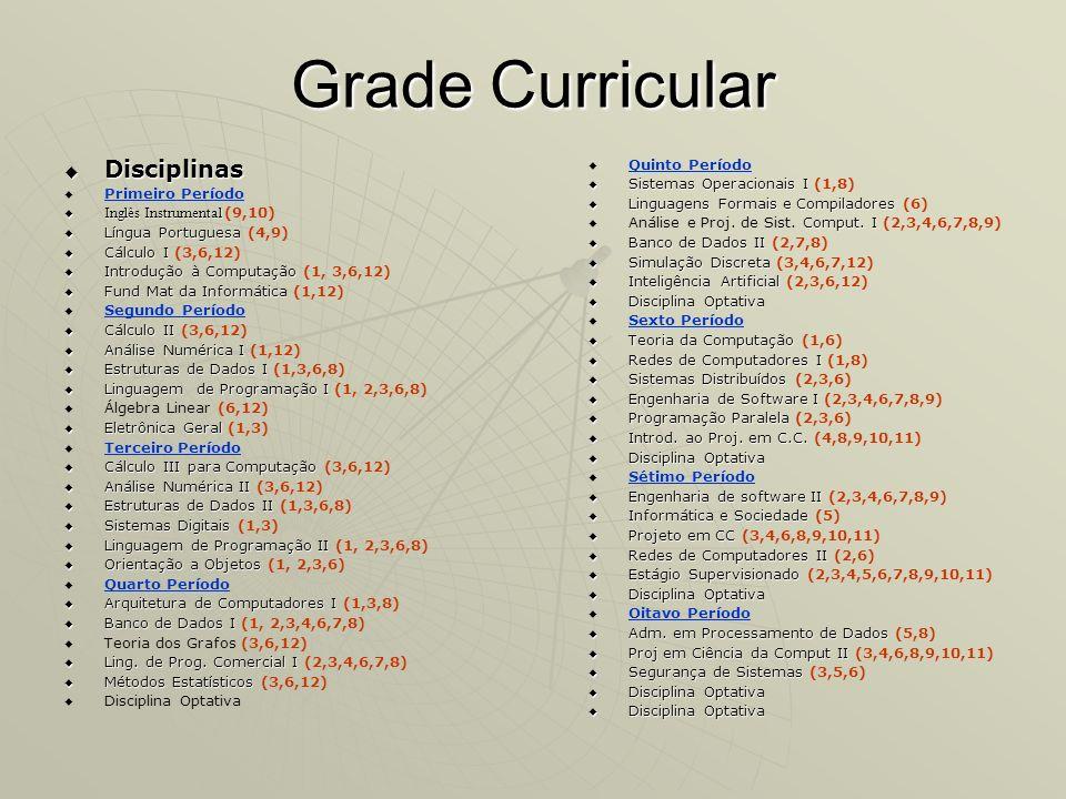 Grade Curricular Disciplinas Disciplinas Primeiro Período Inglês Instrumental Inglês Instrumental (9,10) Língua Portuguesa Língua Portuguesa (4,9) Cál