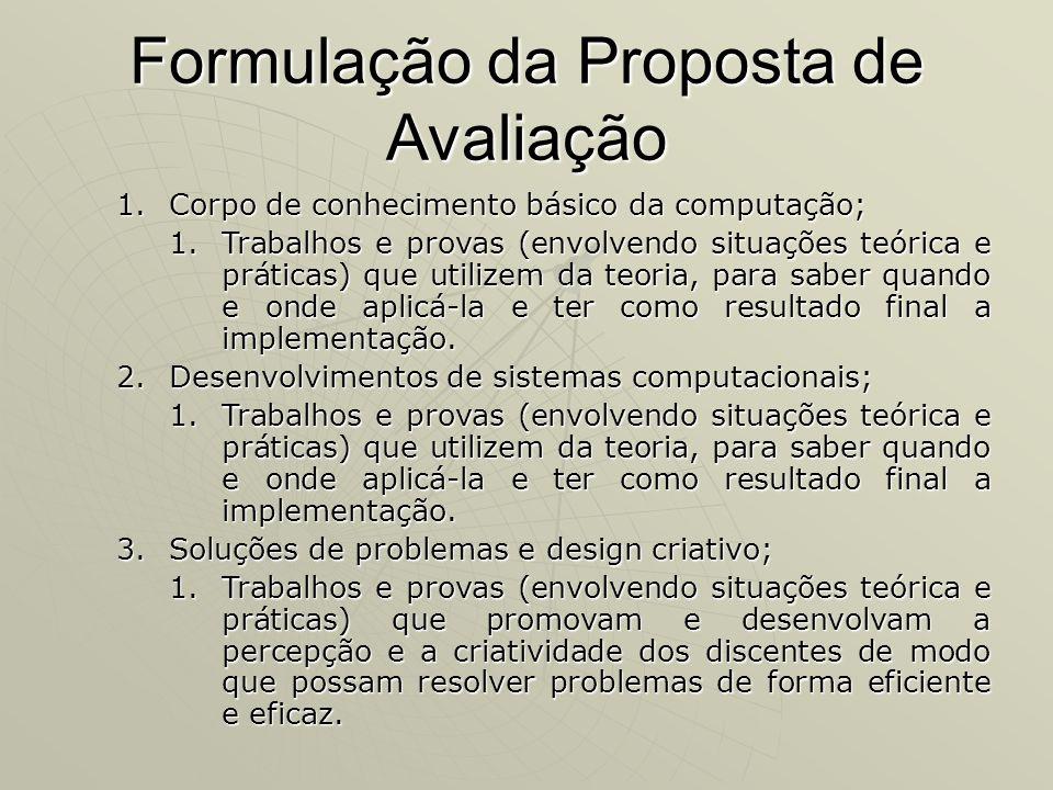 Formulação da Proposta de Avaliação 1.Corpo de conhecimento básico da computação; 1.Trabalhos e provas (envolvendo situações teórica e práticas) que u
