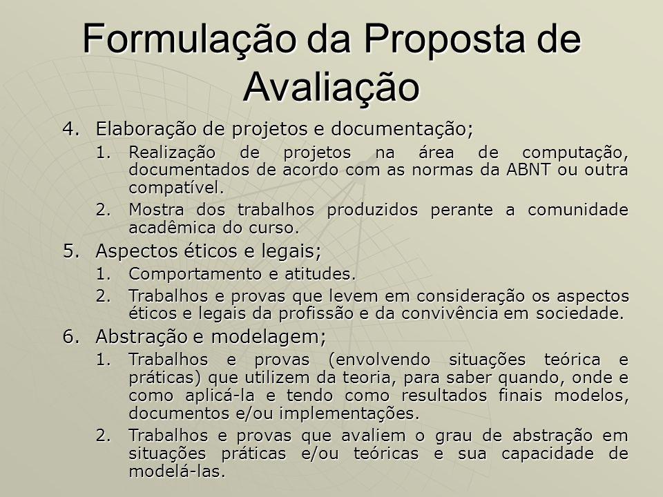 Formulação da Proposta de Avaliação 4.Elaboração de projetos e documentação; 1.Realização de projetos na área de computação, documentados de acordo co