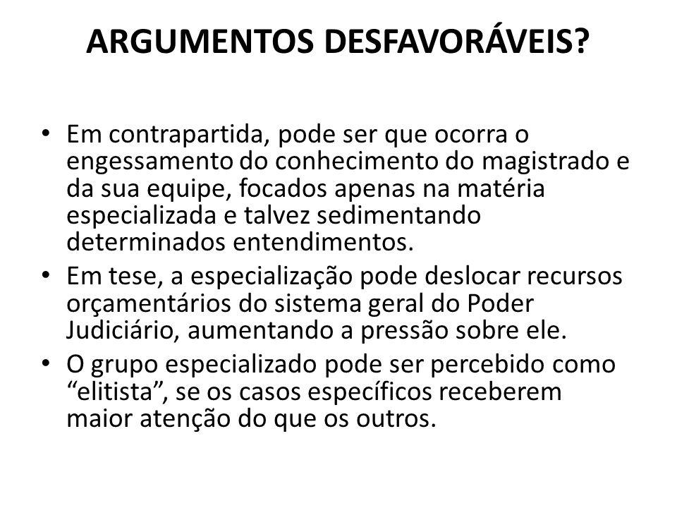 ARGUMENTOS DESFAVORÁVEIS.