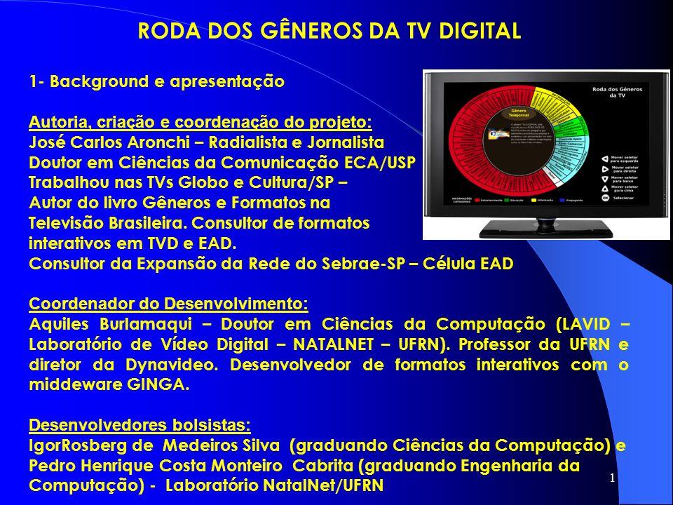 1 RODA DOS GÊNEROS DA TV DIGITAL 1- Background e apresentação Autoria, criação e coordenação do projeto: José Carlos Aronchi – Radialista e Jornalista