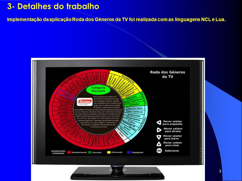 3 3- Detalhes do trabalho Implementação da aplicação Roda dos Gêneros da TV foi realizada com as linguagens NCL e Lua.