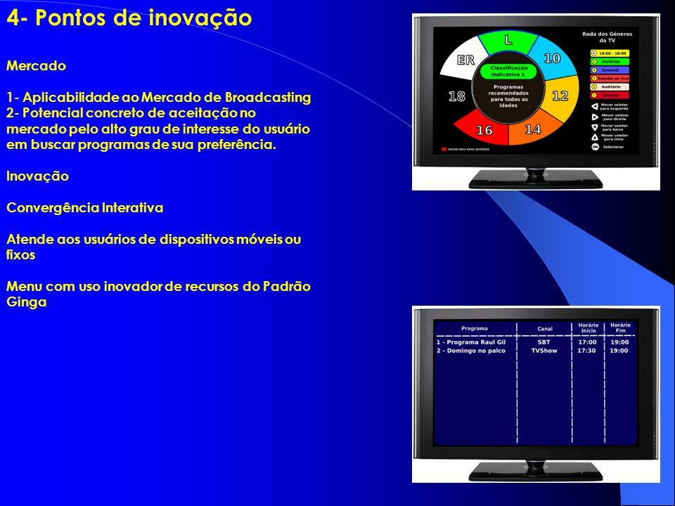 4 4- Pontos de inovação Mercado 1- Aplicabilidade ao Mercado de Broadcasting 2- Potencial concreto de aceitação no mercado pelo alto grau de interesse