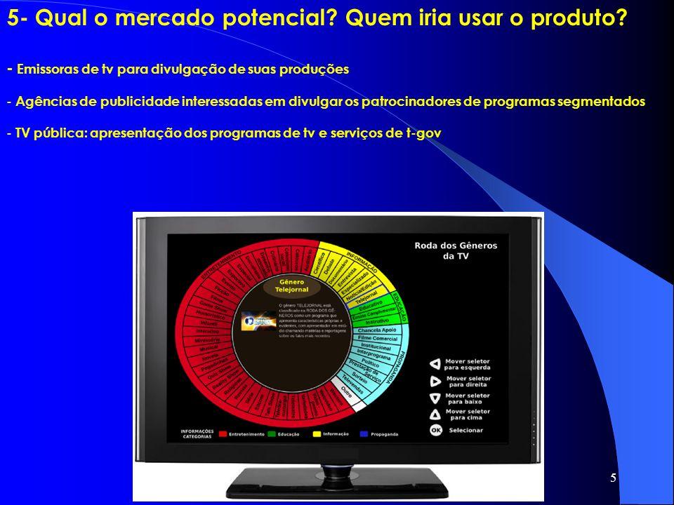 5 5- Qual o mercado potencial? Quem iria usar o produto? - Emissoras de tv para divulgação de suas produções - Agências de publicidade interessadas em