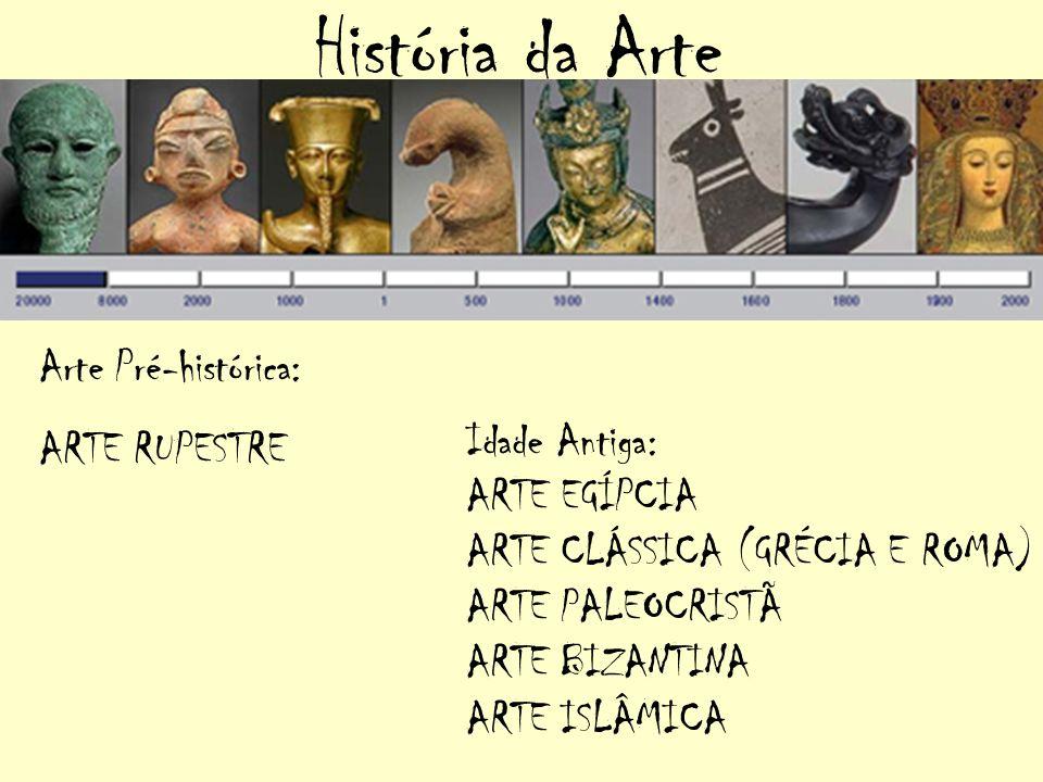 História da Arte Arte Pré-histórica: ARTE RUPESTRE Idade Antiga: ARTE EGÍPCIA ARTE CLÁSSICA (GRÉCIA E ROMA) ARTE PALEOCRISTÃ ARTE BIZANTINA ARTE ISLÂM
