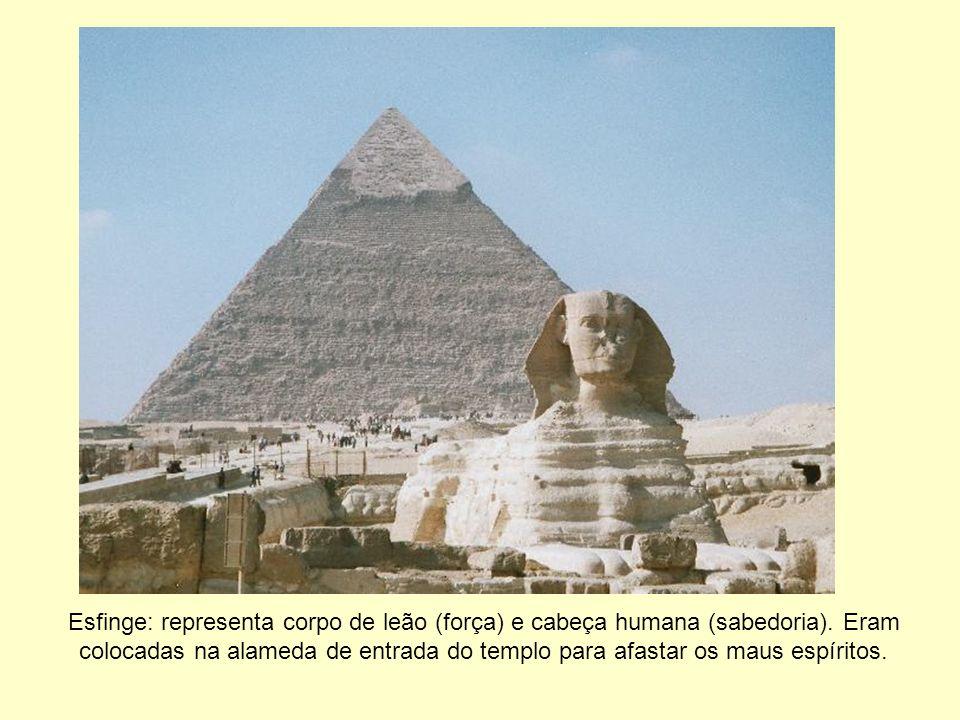 Esfinge: representa corpo de leão (força) e cabeça humana (sabedoria). Eram colocadas na alameda de entrada do templo para afastar os maus espíritos.