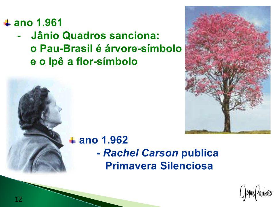 ano 1.961 -Jânio Quadros sanciona: o Pau-Brasil é árvore-símbolo e o Ipê a flor-símbolo ano 1.962 - Rachel Carson publica Primavera Silenciosa 12