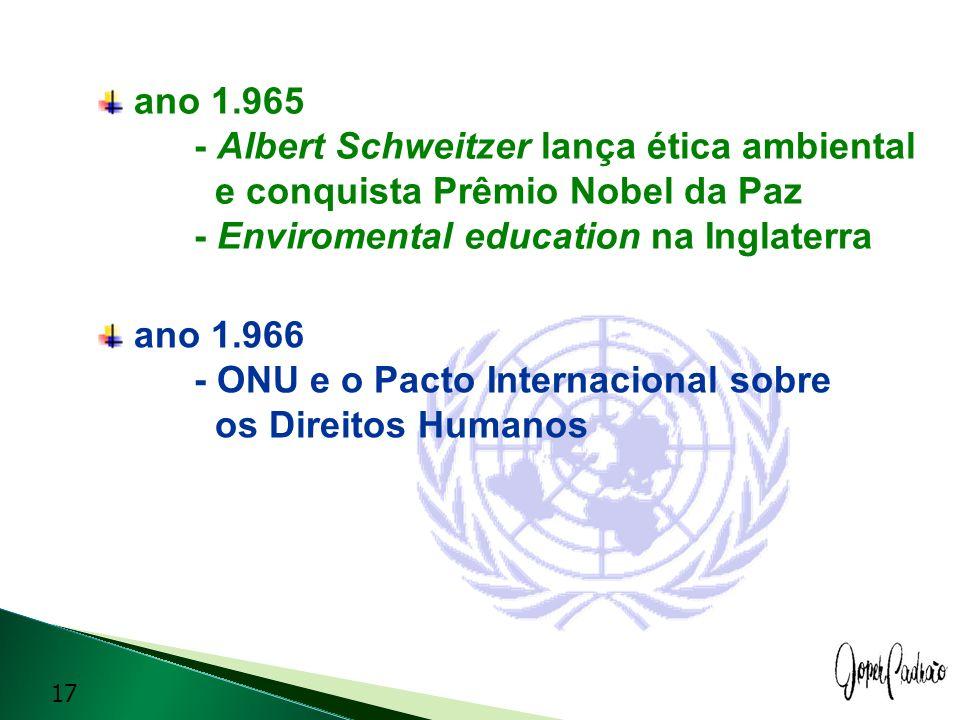 ano 1.965 - Albert Schweitzer lança ética ambiental e conquista Prêmio Nobel da Paz - Enviromental education na Inglaterra ano 1.966 - ONU e o Pacto I