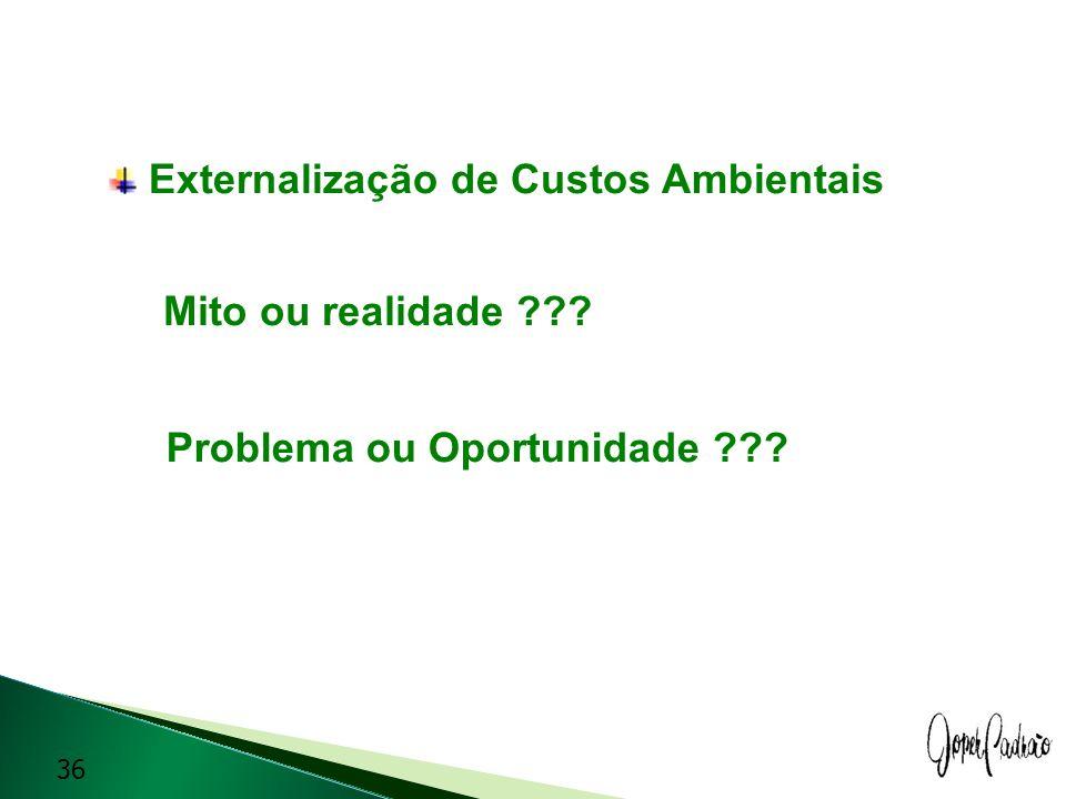 Externalização de Custos Ambientais Mito ou realidade ??? Problema ou Oportunidade ??? 36