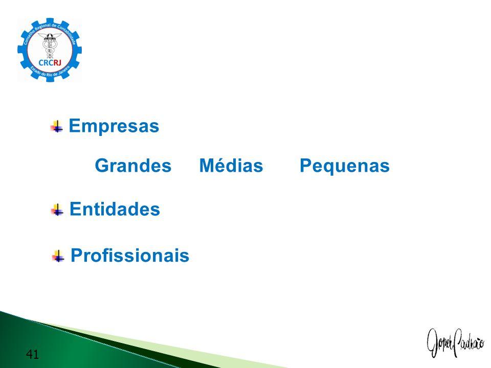 Empresas Grandes 41 MédiasPequenas Entidades Profissionais