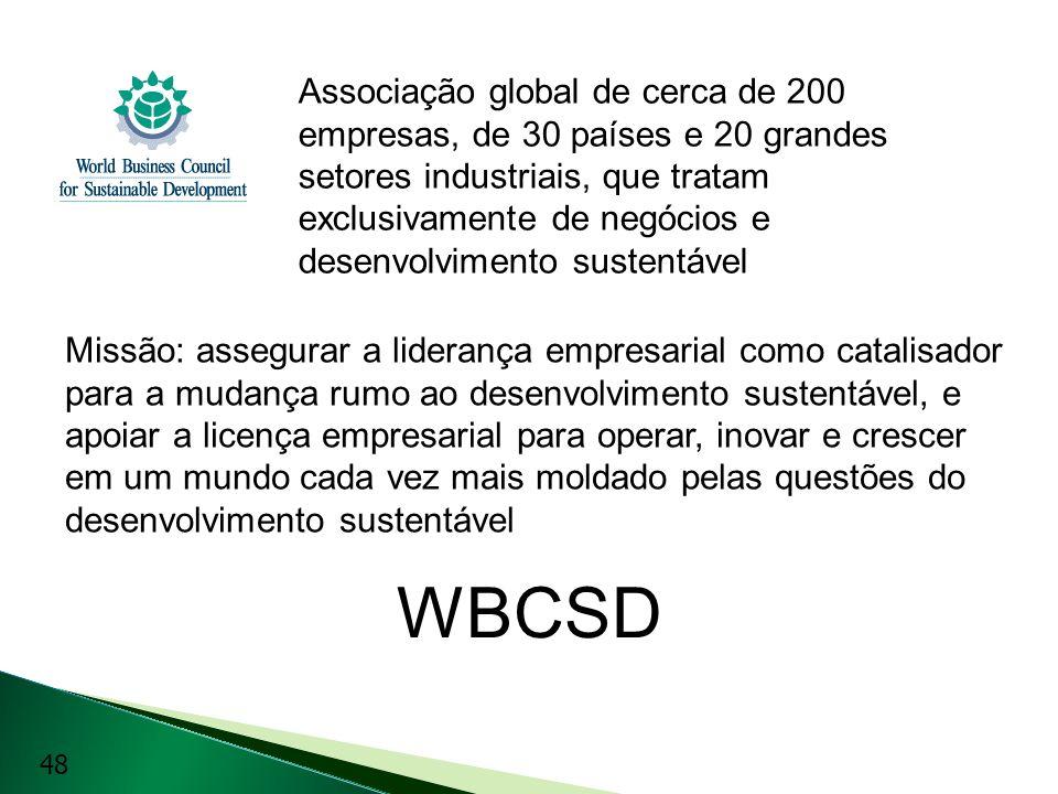 WBCSD Associação global de cerca de 200 empresas, de 30 países e 20 grandes setores industriais, que tratam exclusivamente de negócios e desenvolvimen