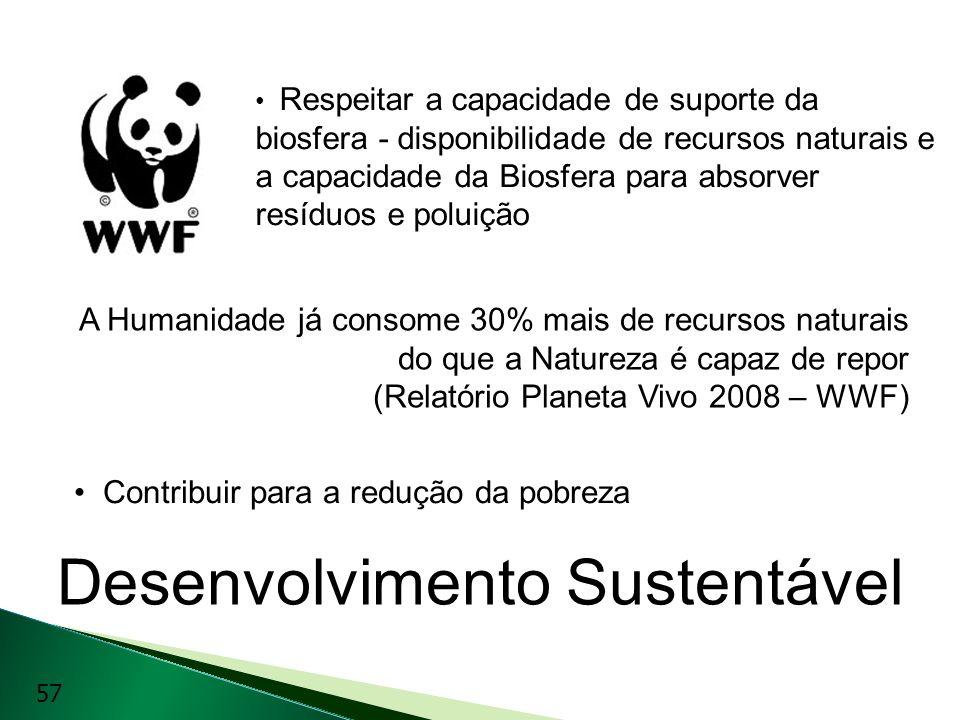 Desenvolvimento Sustentável Respeitar a capacidade de suporte da biosfera - disponibilidade de recursos naturais e a capacidade da Biosfera para absor