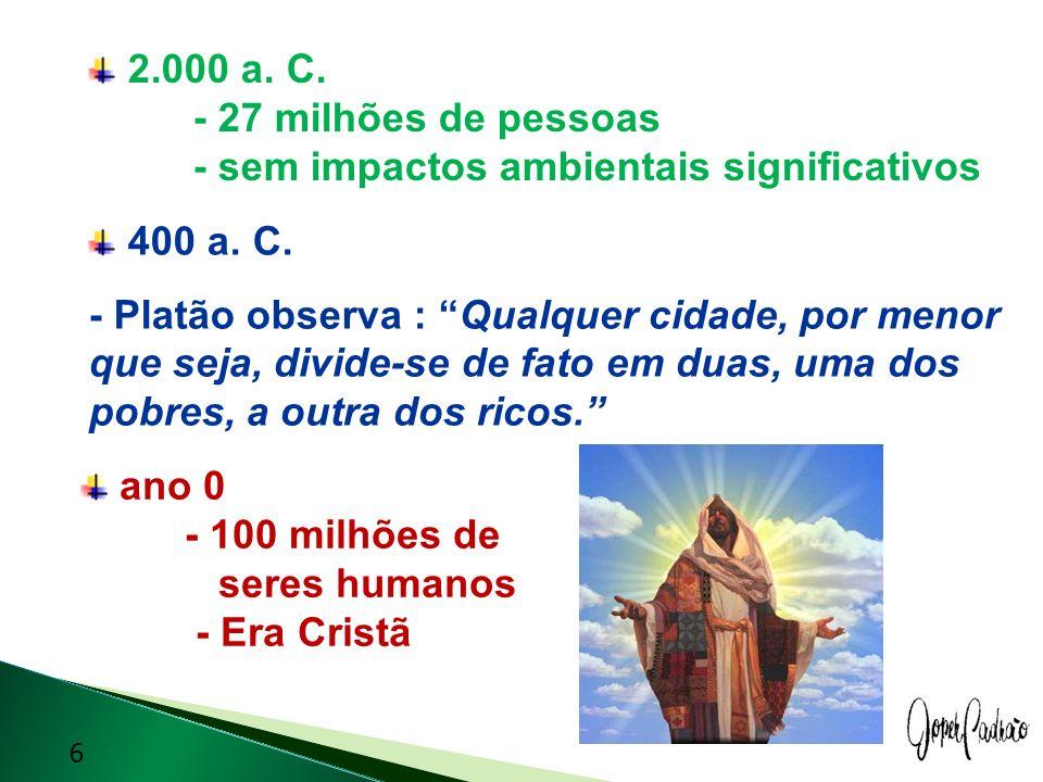 2.000 a. C. - 27 milhões de pessoas - sem impactos ambientais significativos 400 a. C. - Platão observa : Qualquer cidade, por menor que seja, divide-