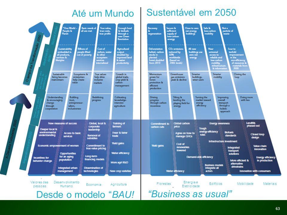 Até um Mundo Sustentável em 2050 Até um Mundo Sustentável em 2050 Valores das pessoas Desenvolvimento Humano Economia Agricultura Desde o modelo BAU!