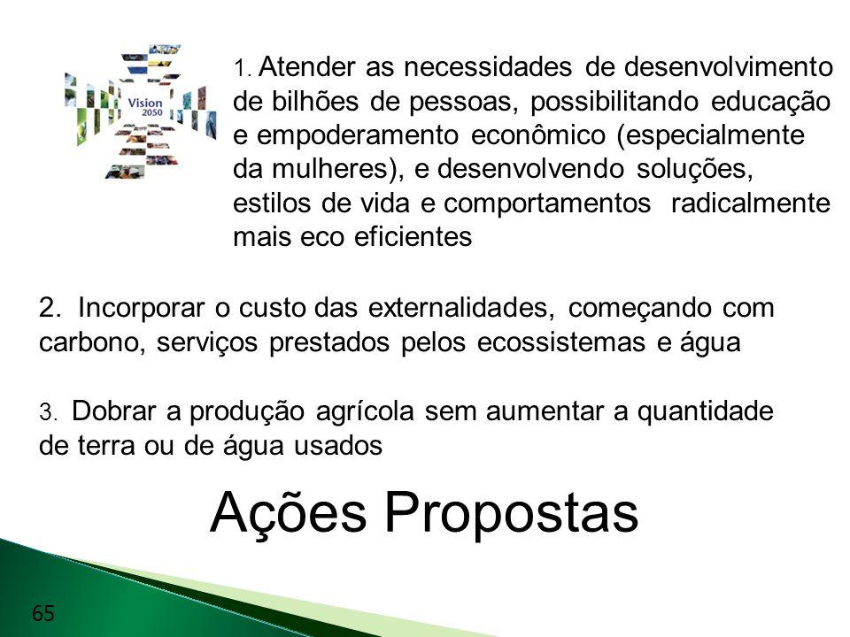 Ações Propostas 1. Atender as necessidades de desenvolvimento de bilhões de pessoas, possibilitando educação e empoderamento econômico (especialmente