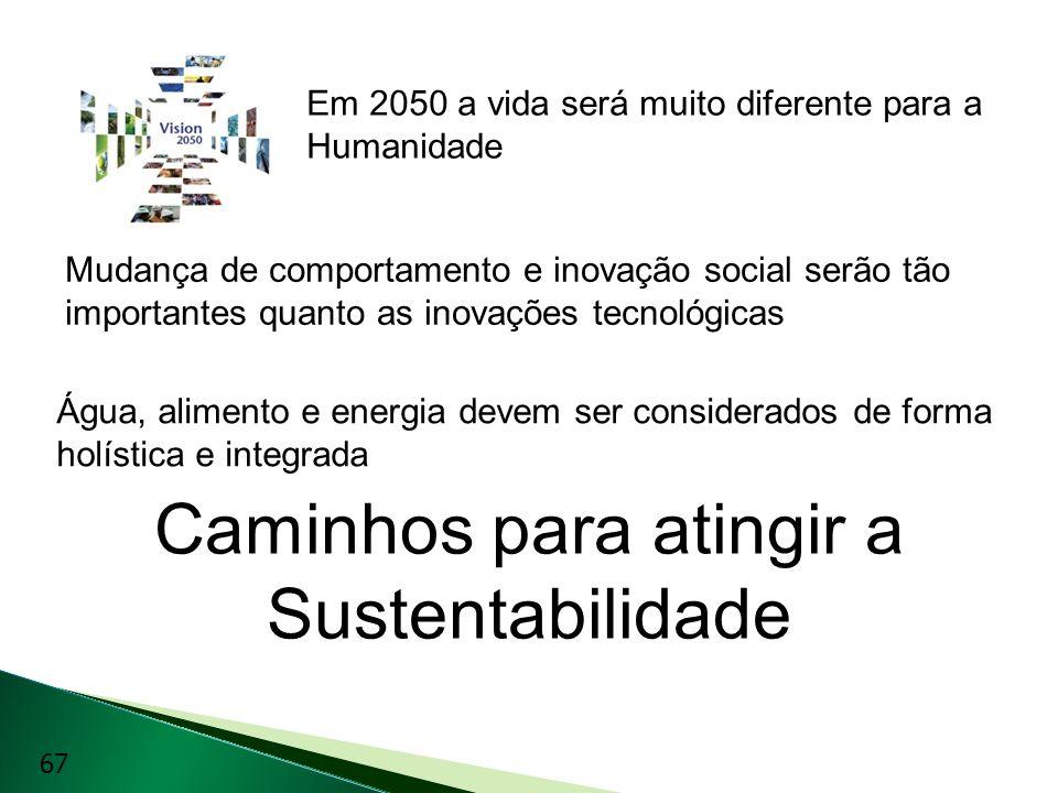 Caminhos para atingir a Sustentabilidade Em 2050 a vida será muito diferente para a Humanidade Mudança de comportamento e inovação social serão tão im